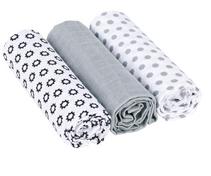 Swaddle & Burp Blanket L Little Chums Stars white 3 pcs ass., 85